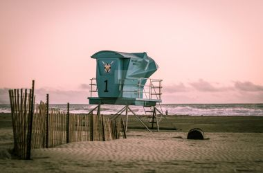 Lifeguard Tower under pink sunset by DanWilliamsPhoto