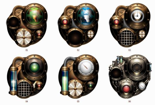 Steampunk Iconset Engines by IllustratorG