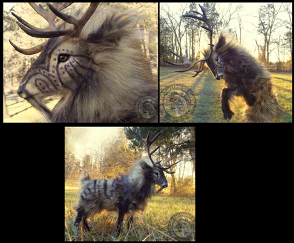-SOLD-Hand Made Poseable Fantasy Prehistoric Stag! by Wood-Splitter-Lee