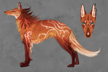 Hybrid of Russian borzoi and a maned wolf {closed} by WolfsECHO