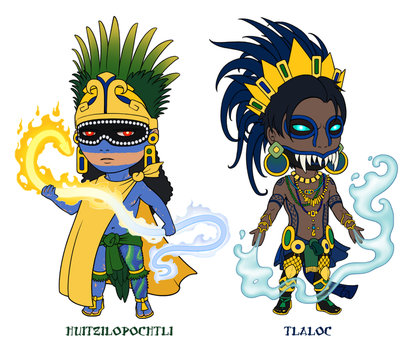 Godlings Chibis - Unfinished Aztecs by TheArtfulMegalodon