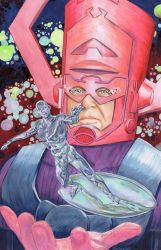 Silver Surfer and Galactus by crossstreet