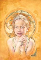 Mollie Eclipsed in golden ochr by ForestEdgeFineArt