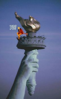 Alfred atop the Statue of Liberty's Torch by ThatWeirdHetalian