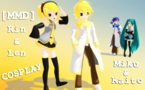 [MMD] Rin and Len Cosplay (Miku and Kaito) by Boyalex18