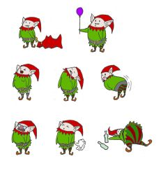 Weird elves gift tags by broken-toy