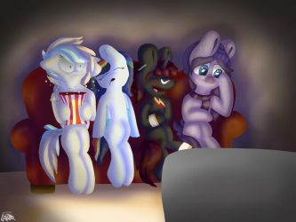 Watching a scary movie by mlppictured