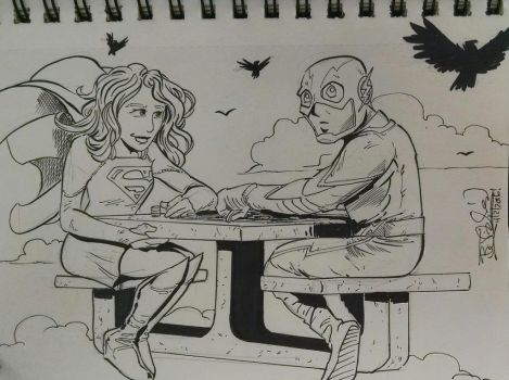 Supergirl and The Flash by EpicBenjaminJ