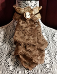 Brown Lace and Cameo Brooch Jabot Collar by MorganCrone