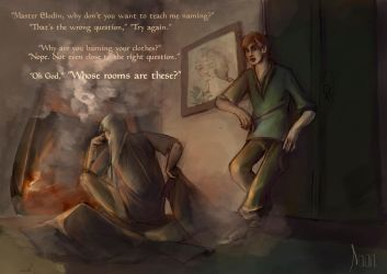 Kvothe and Elodin: The Room by Stella-di-A