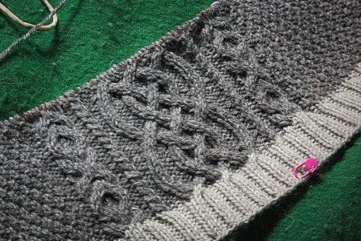 Cabled Aran WIP by copperrein