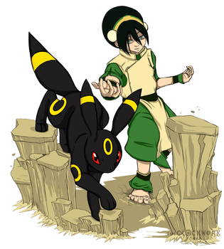 Eeveelution + Avatar Crossover: Toph and Umbreon by Nomati