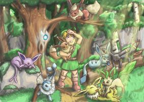 Link and the Eevee Family by Jo-Onis