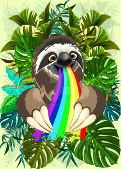 Sloth Spitting Rainbow Colors by Bluedarkat