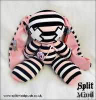 Pink Striped Bunny by splitmindplush