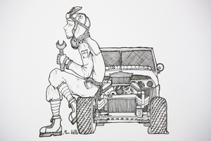 Aby and  her small car by MarTs-Art