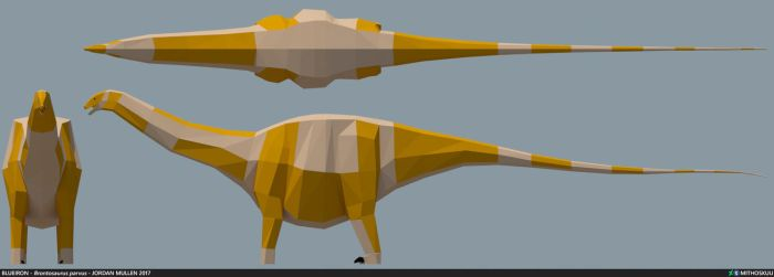 Brontosaurus parvus low poly by MithosKuu