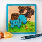Elle and Snail - Painting/Pyrography on wood by Dragons-Garden