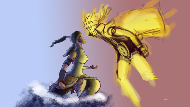 Naruto v. Korra WIP (Commission) Please Critique by Argus1002