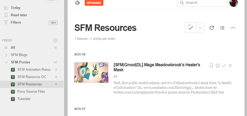 [RSS/OPML] SFM-Ponies Resource Gallery Feeds by The4thaggie
