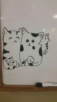white board cat family  by Pimberley