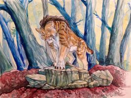 Boss of the forest - watercolor by NadiavanderDonk