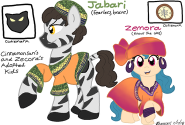 Cinnamon Sun's and Zecora's Adopted Kids (Request) by MLPAristiscCSketch