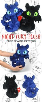Night Fury Toothless Plush Sewing Pattern by SewDesuNe