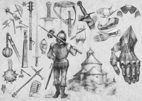Medieval flail, sword arm, other weapons (5) by Nomatterwhat1984