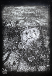 The Yorkshire Ferret, Scratchboard (Nat. Contrast) by WizardsOf12