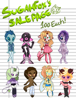 SALE PAGE OPEN .: 1 LEFT PRICE MARKDOWN:. by Sugahfox-Adopts