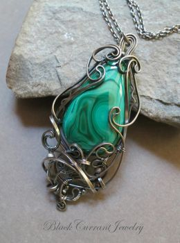 Large Malachite Pendant with dark sterling silver by blackcurrantjewelry