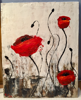 Poppies - Acrylic Painting by LuckyOwl2306