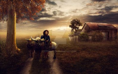 Buffalo girl Photo Composite by Roshan3312