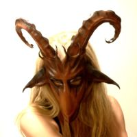 Goat Leather Mask with curled horns Ram Sheep by teonova