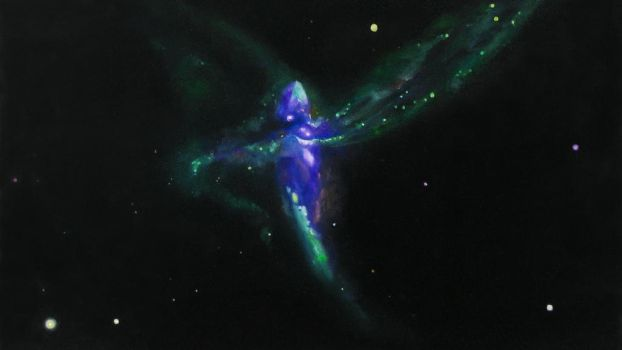 Violet Tear a Triple Merger Galaxy, Oil on Canvas by dbattefeld