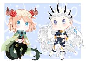 COMMISSION Tiny Chibi : Thian and Balder by RenAyumeArts