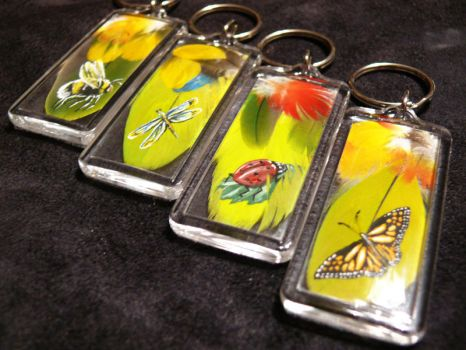 Feather Keychains - Bugs by dittin03