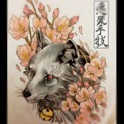 SAKURA WOLF. by Akumashugitattoo