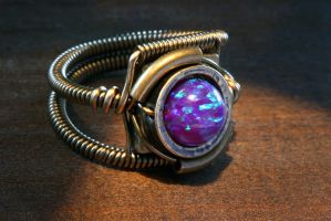 Purple Opal Steampunk Ring by CatherinetteRings