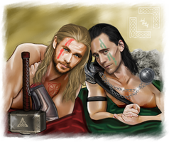 Loki and Thor - Like gladiators by LadyMintLeaf