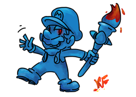 BLUE MARIO by Kirafrog