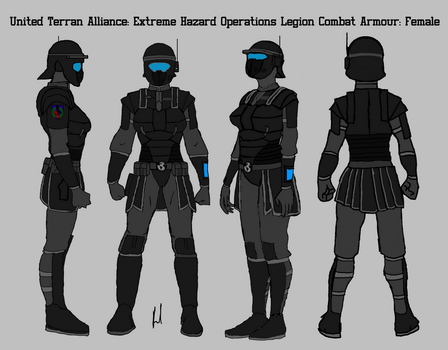 Female Legionnaire Combat Armour 360 view by docwinter