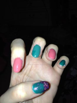 Coral sunset and Island Oasis Mani. by Strictly-Nailart