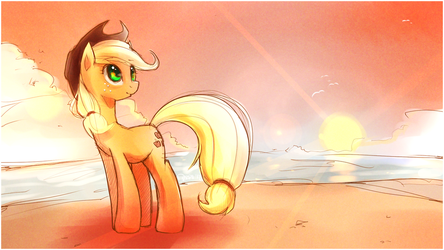 By the way, an Applejack wallpaper by derpiihooves