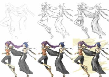 Yoruichi vs Soifon Art Process by iheartsonic