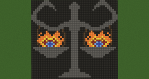 Burning Balance Scales Pixel Art (Original) by Nonamewayward
