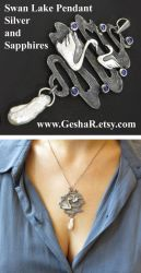 Swan Lake Pendant with Sapphires by GeshaR
