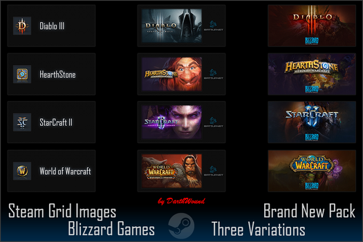 Steam images for Blizzard Games (D3/SC2/HS/WOW) V4 by DarthWound