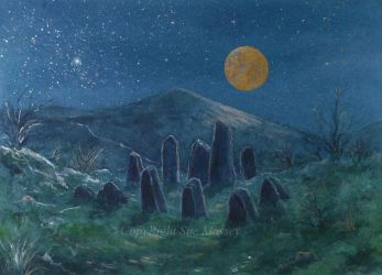 The Sparkling Standing Stones in the Moonlight. by SueMArt